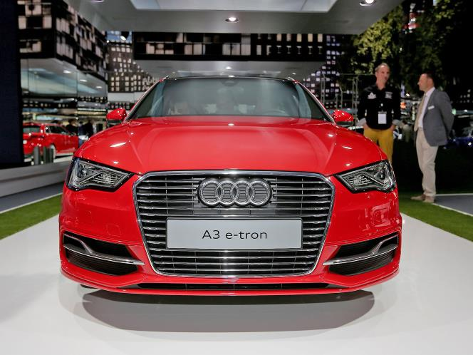 Audi A3 E-tron view of front grille and aerodynamic fascia