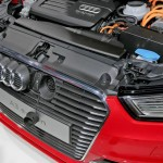 Close-up under the hood of the Audi A3 E-tron Sportback